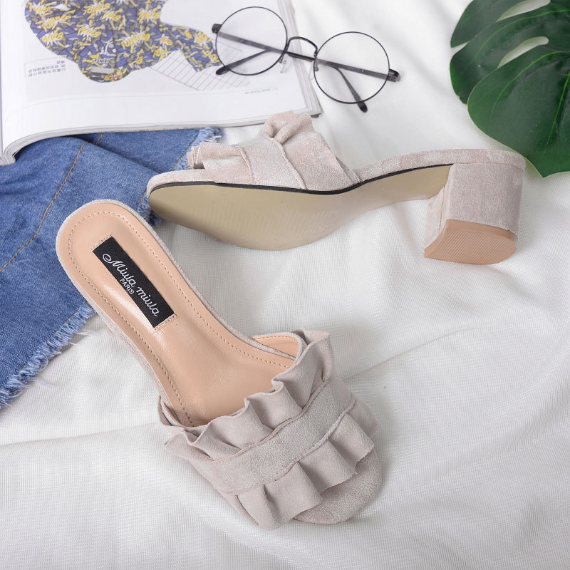 79b8492ce01a2 European Women Summer Open Toe Slides House Slippers Wedges Beach Sandals  Nubuck Leather High Heels Shoes Ruffles Flip Flops-in Middle Heels from  Shoes on ...