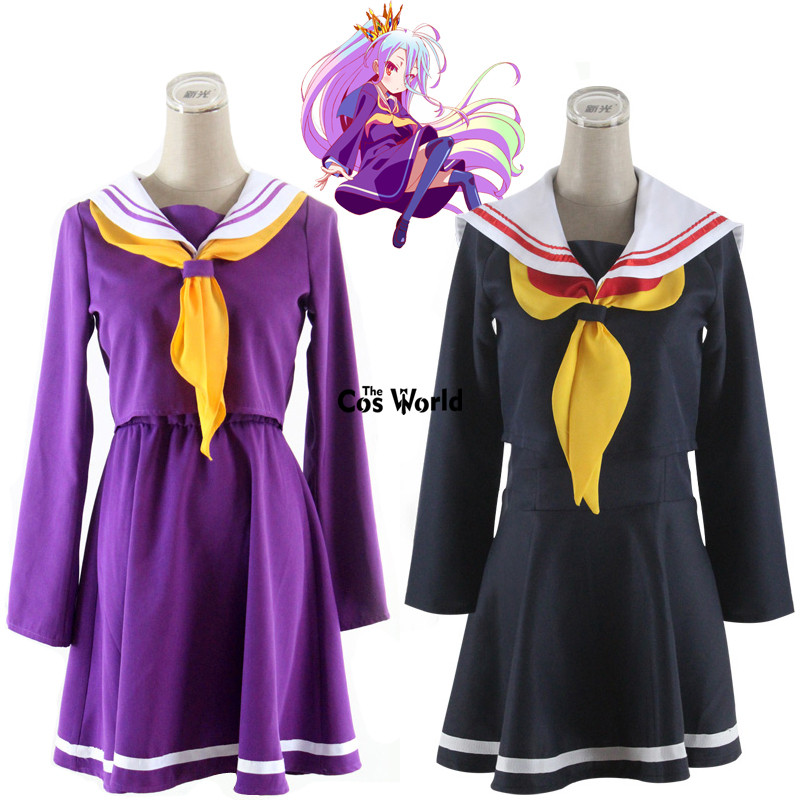 NO GAME NO LIFE Shiro Sailor Suit School Uniform Tops Dress Outfit Anime Cosplay Costumes