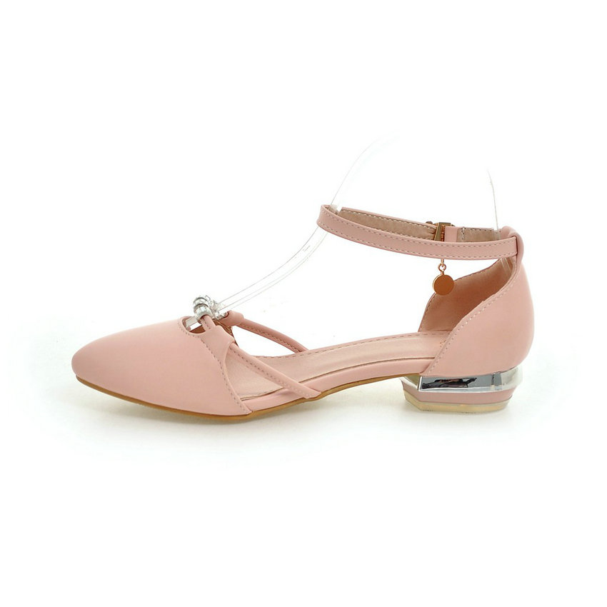 ESVEVA 2017 Ankle Strap Women Pumps Summer Dating Women Shoes Pointed Toe Square Low Heel PU Woman Wedding Shoes Plus Size 34-43 1
