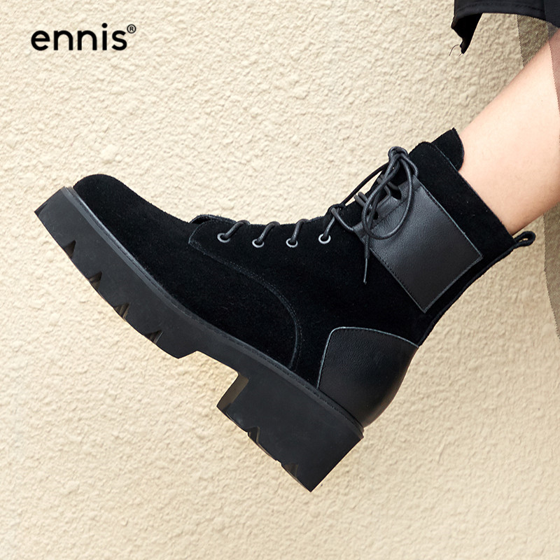 a96d2cdeec17 Detail Feedback Questions about ENNIS 2018 Winter Martin Boots Platform  Suede Leather Women Boots Lace Up Ankle Boots Med Heel Round Toe Warm Shoes  Black ...