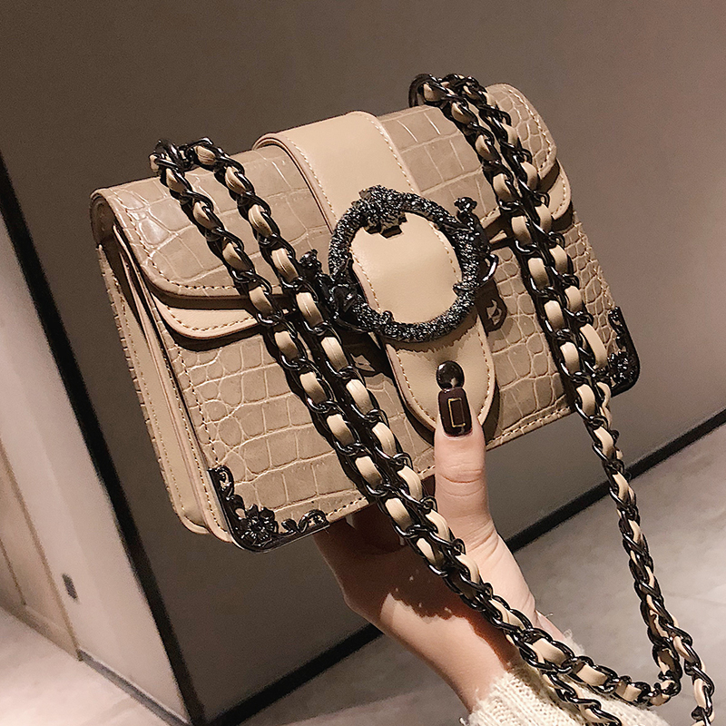 Luxury Handbag Retro Fashion 2019 New Quality PU Leather Women's Designer Handbag Crocodile Pattern Chain Shoulder Messenger Bag