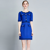 Office Dresses 2017 Summer A Line Ladies Short Sleeve Blue Red Slim New Cotton Hot Sale
