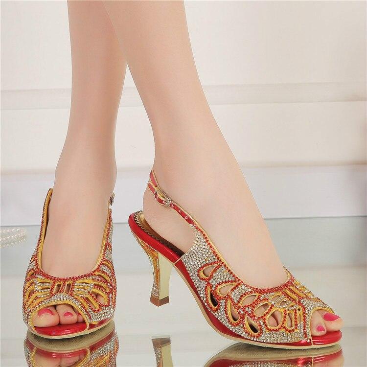 ФОТО 2016 Summer New Diamond Leather High Heel Sandals Roman Hollow Fish Head Women High Heels Shoes Rhinestone Wedding Shoes Gold