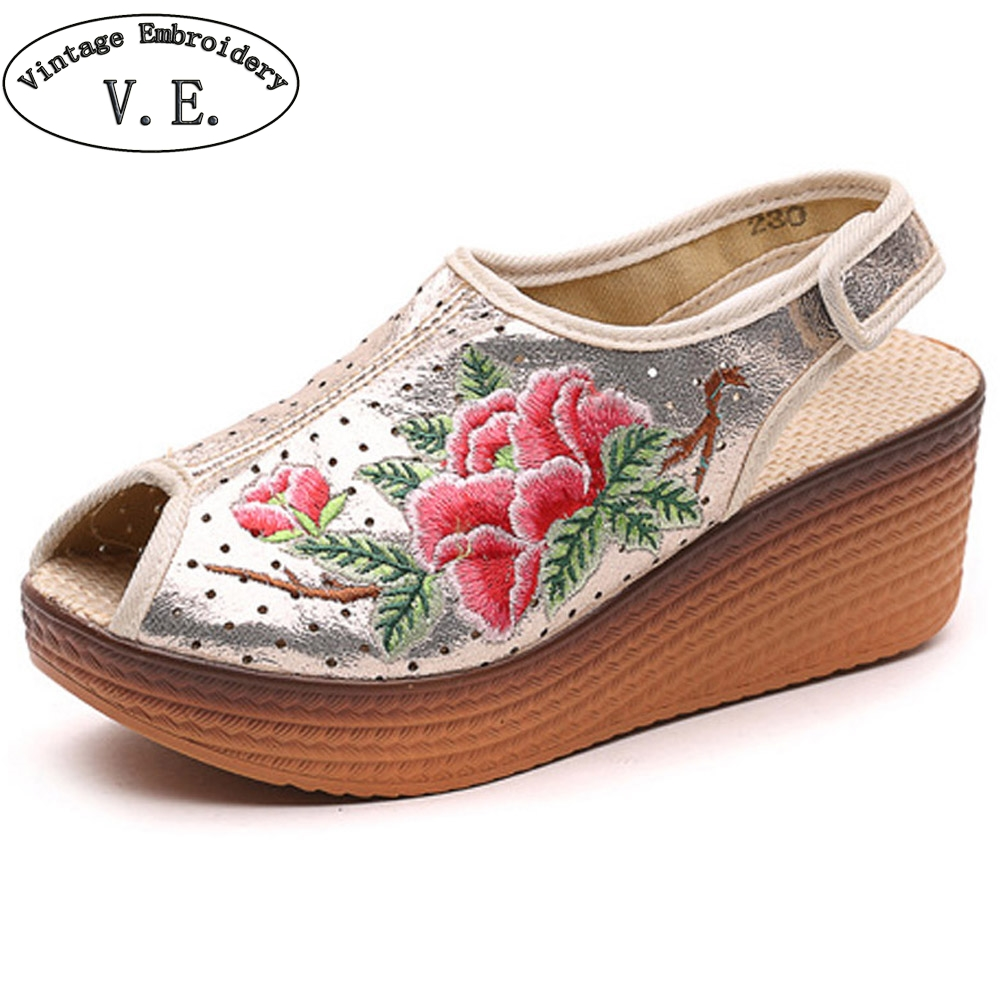Women Sandals Shiny Leather Peep Toe Vintage Floral Embroidered Wedges Platform Travel Shoes For Woman Zapatos Mujer summer shoes woman platform sandals women soft leather casual peep toe gladiator wedges women 7cm high heel shoes zapatos mujer