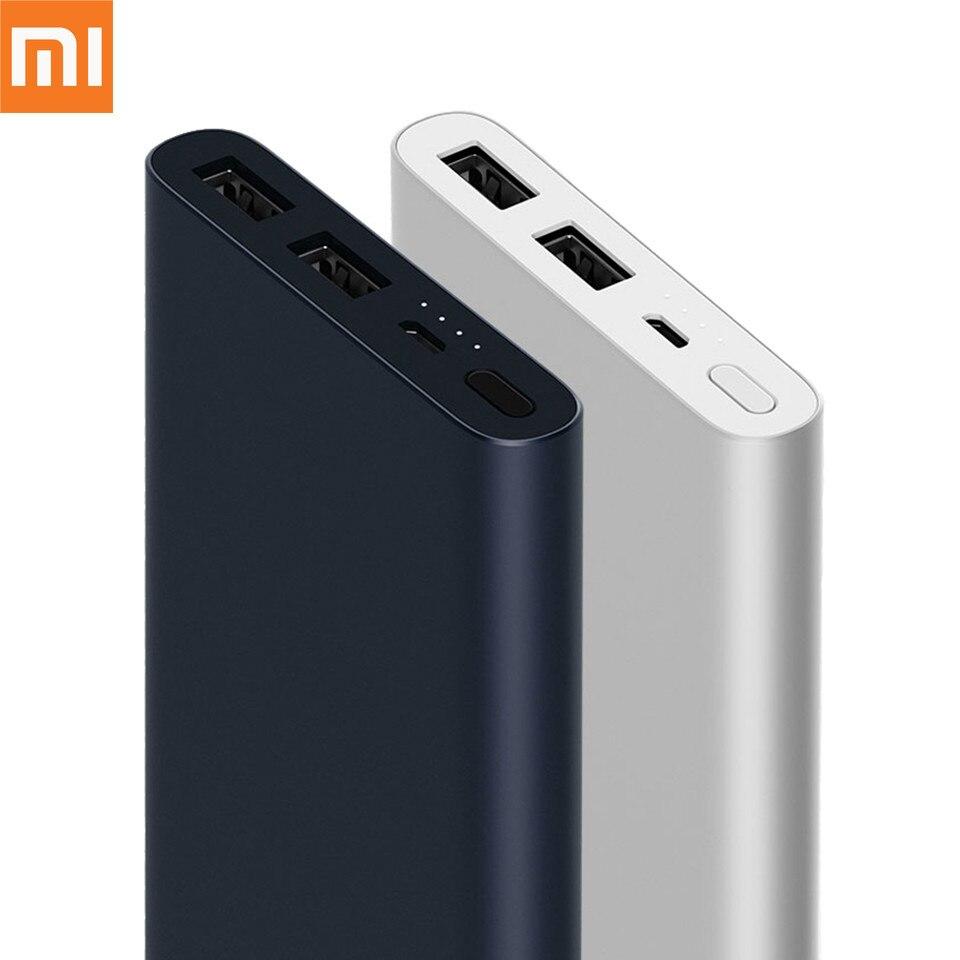 Original Xiaomi Power Bank 10000mAh 2 Quick Charge Powerbank Dual USB Portable Aluminium Fast Charging Mi