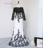 2016 Paris Hilton Celebrity Dresses Mermaid High Collar Long Sleeves Black White Appliques Long Red Carpet