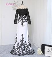 2016 Paris Hilton Celebrity Dresses Mermaid High Collar Long Sleeves Black White Appliques Long Red Carpet