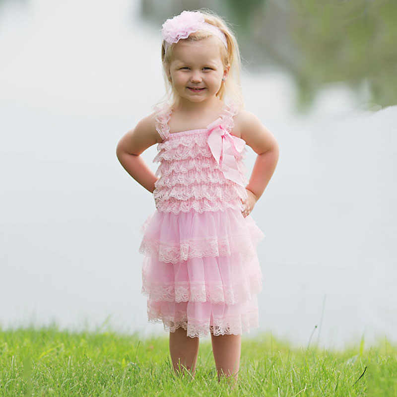 36dfdb07 ... Cute Girl Clothes Pink Flower Girl Dresses Infant Wedding Party Dress  Lace Chiffon Dress Toddler Birthday ...