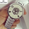 Marca BS abejas hermana Mujeres Escala 3D Relojes de pulsera de Cuarzo Ladies Silver Crystal Skull Reloj Reloj Mujer reloj orologi donna