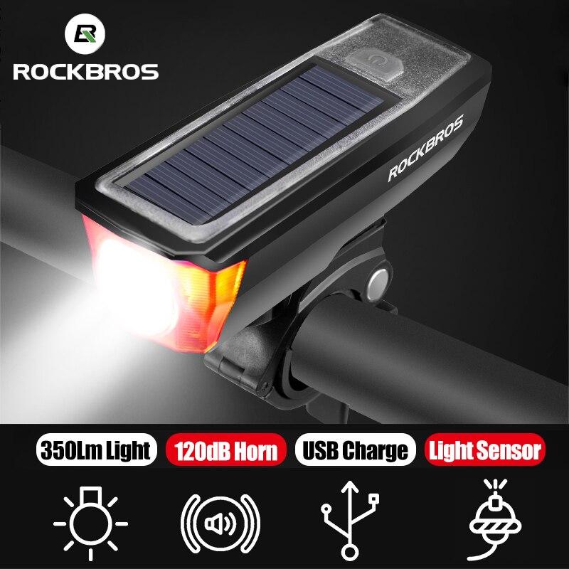 ROCKBROS Bike Front Light Loud Bicycle Horn Set 350 LM USB Rechargeable Bike Headlight Electric 120dB Horn Solar Panel Lights