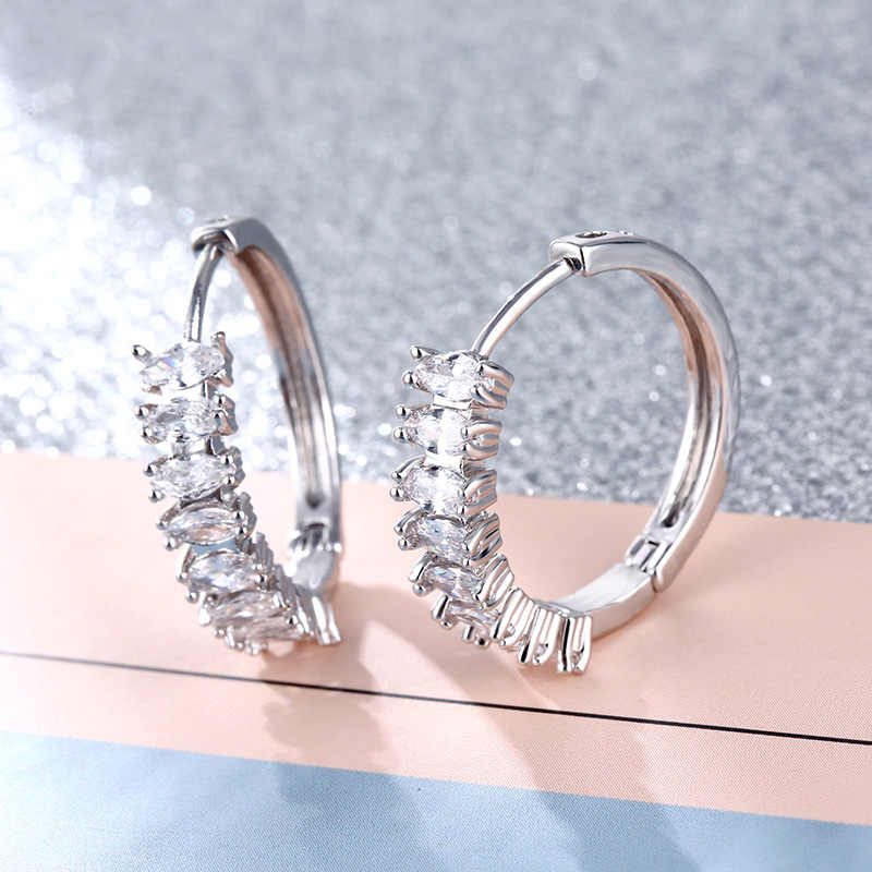 CARSINEL New Design Fashion Silver color Hoop Earrings for women Geometric Round Cubic Zircon big earring jewelry ER0535