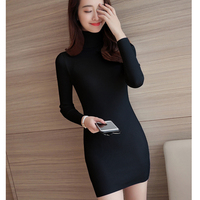 Autumn And Winter New Women S High Collar Slim Was Thin Long Section Of Knitted Solid