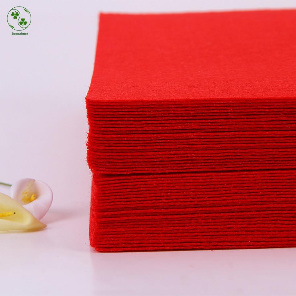 Piros szín DIY szövetfilter 30X30CM tiszta szín 1mm vastag sima filccsomag DIY kézműves varrás négyzetek nem szövött patchwork