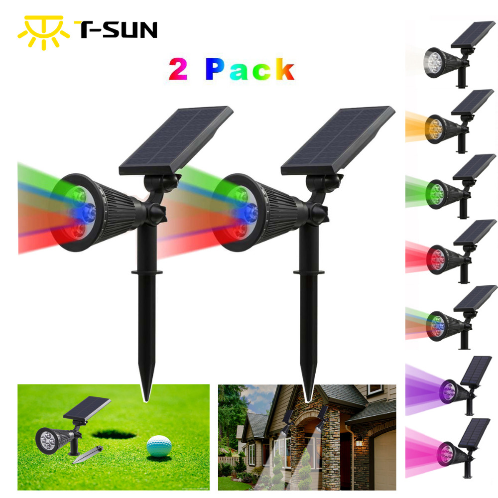 T-SUNRISE 2PACK Buitenverlichting Zonne-energie Spotlight 2-in-1 verstelbare LED Solar Landscape Lamp Light voor Outdoor Garden