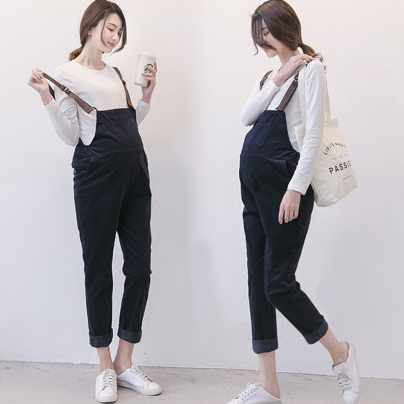 2018 spring maternity jumpsuits pregnancy bib pants pregnant women cotton overalls romper trousers loose fit playsuit for women 2017 autumn maternity bib pants pregnant trousers belt plus clothes for fat women pregnant overalls jumpsuit solid women