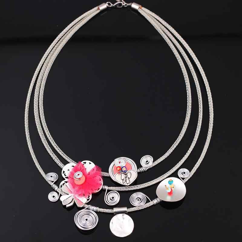 Bonsny yarn flower chain necklace for girls pendant lovely cute style new 2016 spring/summer design woman man jewelry fashion