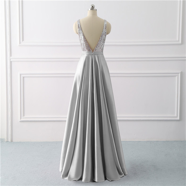 Beauty Emily Sequined A Line Gray Evening Dresses 2019 Long V Neck Formal Evening Gowns Party Prom Formal Party Dresses 1