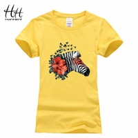 Hanhent Personalized Women Fashion Horse Printing T Shirts O Neck Woman Casual Grils Tees Tops 2016