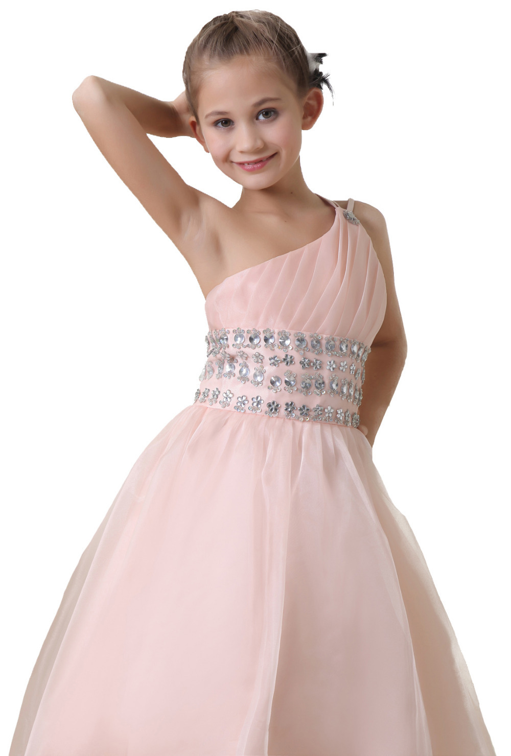 One Shoulder Pale Pink Crystal Ball Gowns Flower Girls Dresses