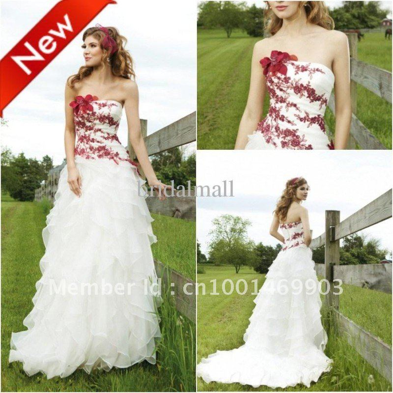 strapless burgundy embroidered organza two tone white bridal