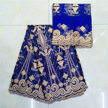 African fabric Bazin riche fabric tissu cotton embroidered Bazin riche  with tulle lace set African lace fabric KY122208