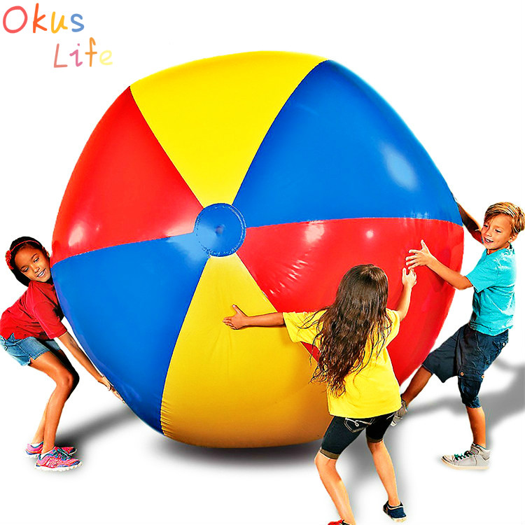 Hot 80cm/100cm Giant Inflatable Beach Ball Large Three Color Thickened PVC Water Volleyball Football Outdoor Party Kids Toys