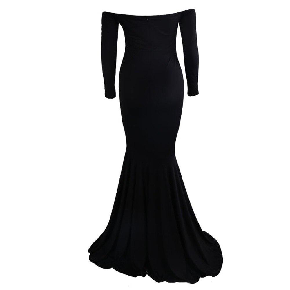 Aliexpress.com : Buy Plain Black Long Dress Solid Off Shoulder ...