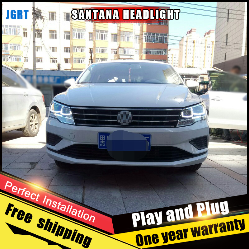 2PCS Car Style LED headlights 2017 for VW santana for santana head lamp LED DRL Lens Double Beam H7 HID Xenon bi xenon lens h7 hid xenon bulb holder hid adaptor for vw sagitar magotan h7 hid xenon adapter h7 xenon holder clip retainer for vw magotan