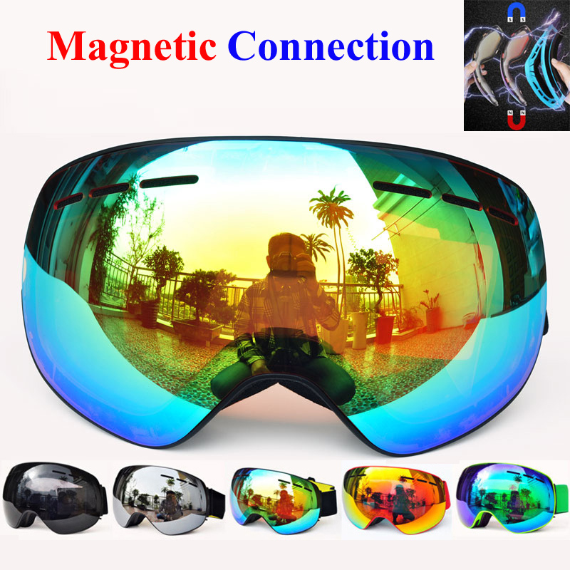 купить Winter magnetic connection ski goggles UV400 anti-fog ski mask snow glasses for men women snowboard Skiing goggles GOG-4100 по цене 1580.94 рублей