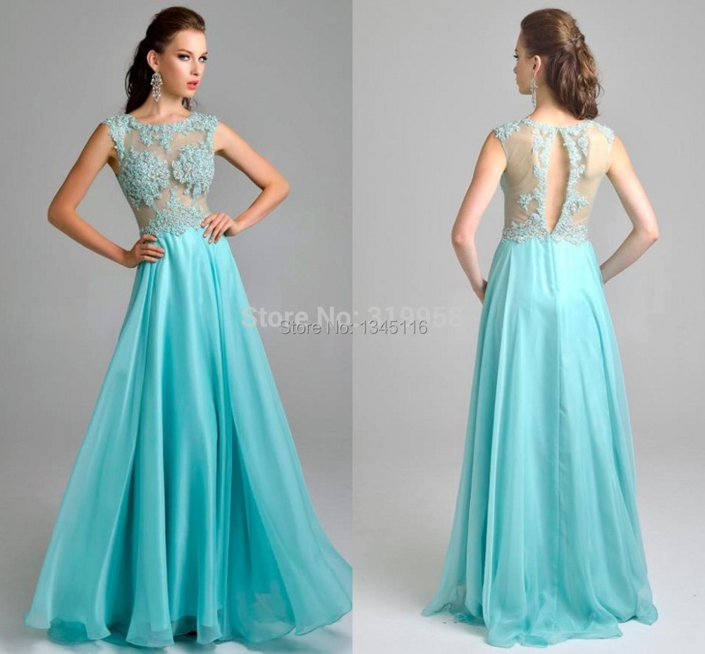 Elegant Sky Blue Color Long Chiffon Button Back Sheer Prom Dresses ...