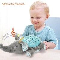 Novelty Luminous Plush Toys Romantic Starry Sky LED Light Projector Lamp Battery Light and Music Toy Help Baby Sleep Light N030