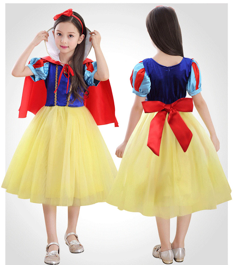 Children Party Frocks Satin Princess Snow White Costumed Characters for Birthday Parties Halloween Costume for Kids Girls акустика центрального канала heco elementa center 30 white satin