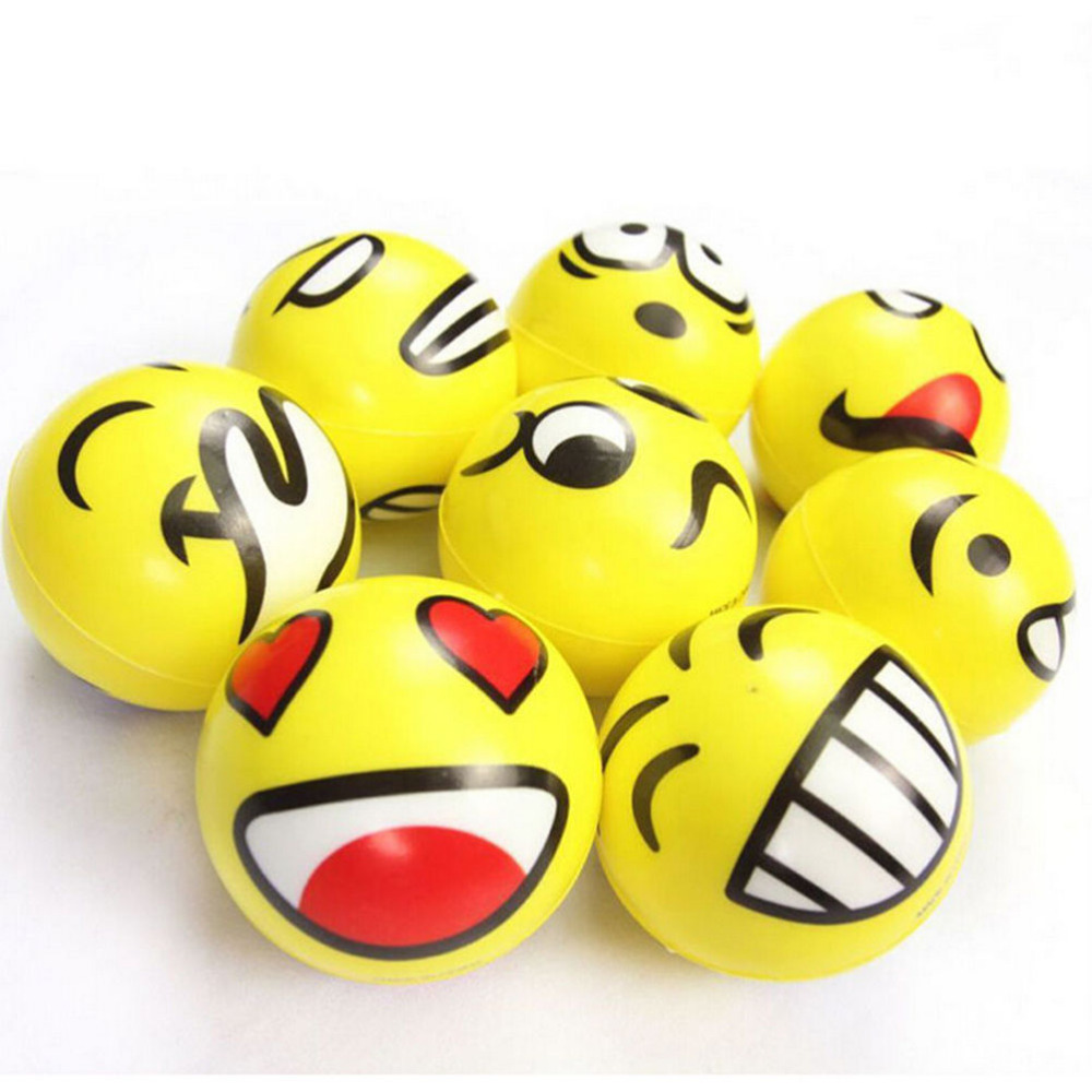 1PCS Dia 7.5cm Stress Ball Novetly Emoji   Print Squeeze Ball Hand Wrist Exercise Stress Ball PU Rubber Toy Balls