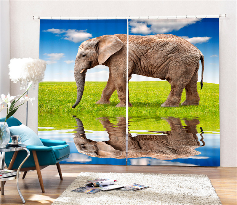 Animal prairie elephants print Luxury Blackout 3D Window Curtain For Living Room Bedroom Drapes Rideaux Cortinas Customized sizeAnimal prairie elephants print Luxury Blackout 3D Window Curtain For Living Room Bedroom Drapes Rideaux Cortinas Customized size