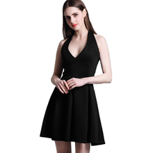 ФОТО hz vogue black bodycon dress women deep v-neck sleeveless summer dress high recommend backless sexy party dress 2018 new arrival