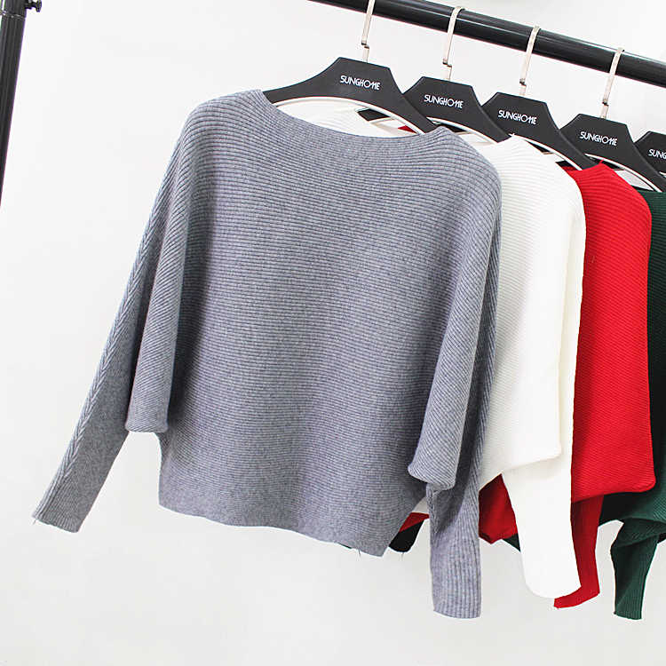 New Autumn Winter Women O Collar Bat Sleeve Loose Casual Sweaters and Pullovers Pure Color Plus Size Short Sweater Coat Gray Red