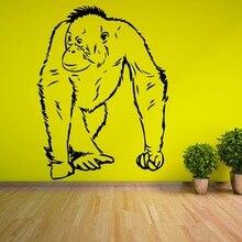 Hot Sale Animal Series Orangutang Walking Ape Homo Sapien Vinyl Wall Sticker House Living Room Decorative Mural Y-868