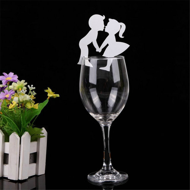 100pc Lot DIY Wedding Cup Card Cut Wine Glass Name Place Escort Bridal Shower Engagement Party Decorations In Event From Home
