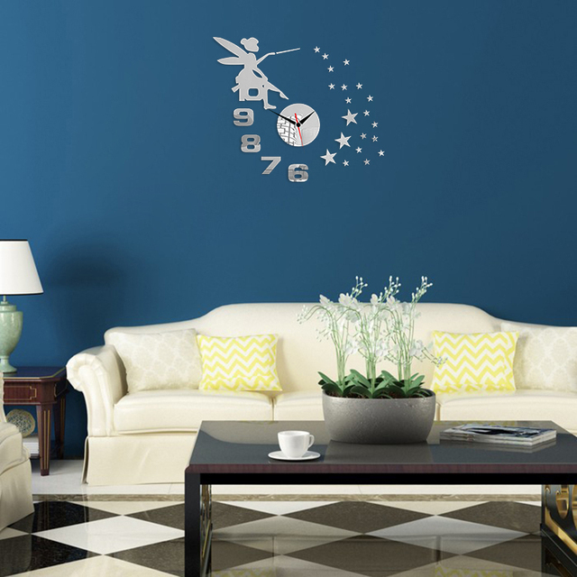 Wall Stickers For Living Room aliexpress : buy 3d angel digital clock wall stickers decorate