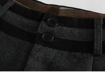 2019 autumn winter pants women fashion formal plus size woolen pants casual wide leg pants female black
