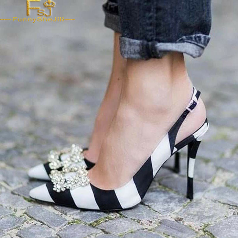 Black And White Stripes Slingback Pumps Rhinestone Satin Stiletto Heels Pointed Toe Date Spring Large Size 14 16 Woman Shoes FSJ