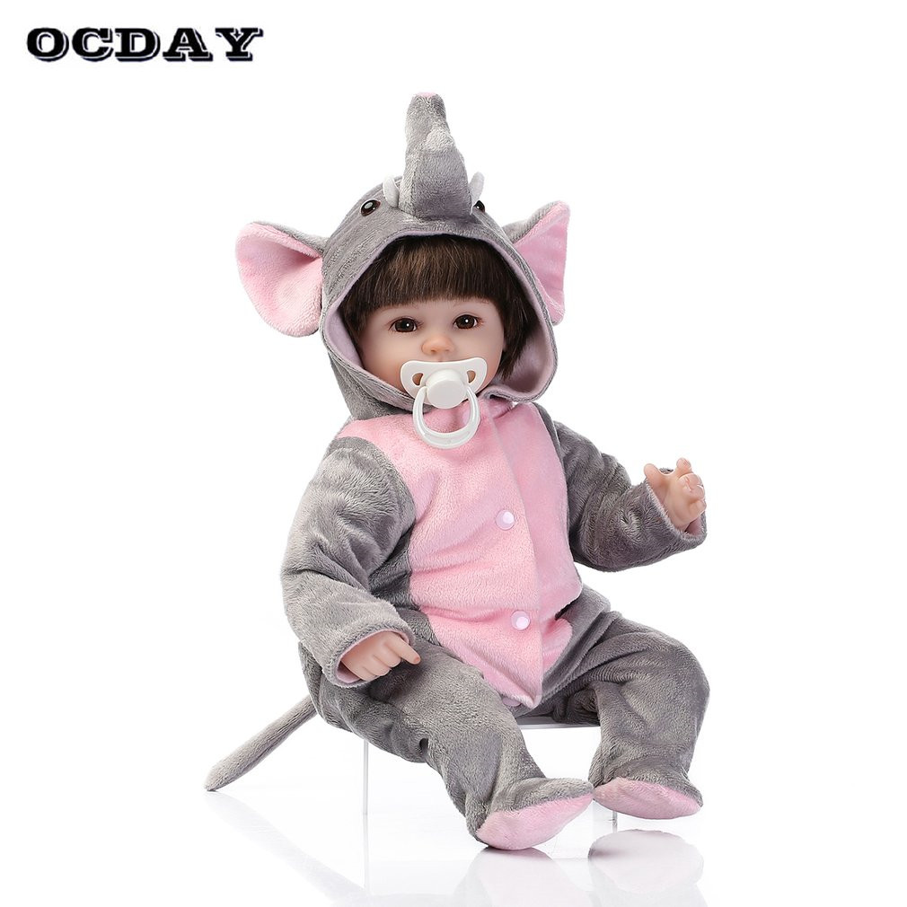 55cm Cute Reborn Baby Doll Toys Kawaii Wear Panda Elephant Clothes Soft Silicone Lifelike Newborn Dolls for Kids Girls Gift Hot short curl hair lifelike reborn toddler dolls with 20inch baby doll clothes hot welcome lifelike baby dolls for children as gift