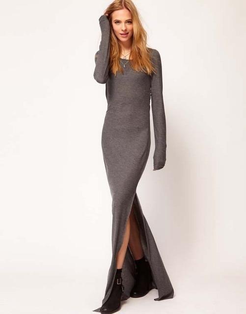 1582fc79894 Spring autumn woman elegant slim maxi sweater dress ankle length knitted  dress winter basic dress plus size FF181