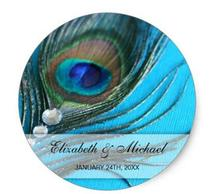 1.5inch Jewel Peacock Feather Wedding Favor Label Classic Round Sticker