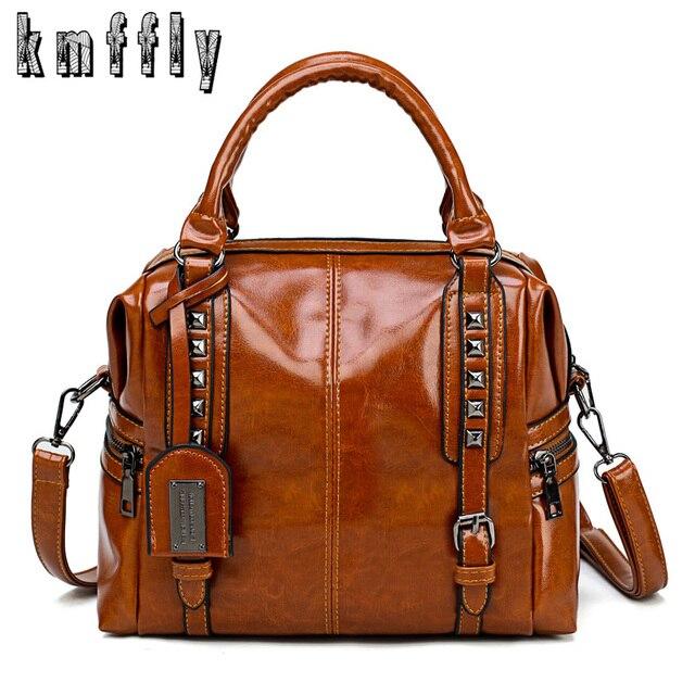 07f61601379e New Oil wax leather retro style handbag luxury handbags women bags designer  mochilas mujer 2018 shoulder bag ladies hand bags