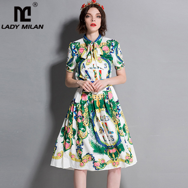 Womens Beaded Turn Down Collar Short Sleeves Bow Printed Shirts with Pleated Skirts Fashion Designer Twinsets Two Piece Dresses