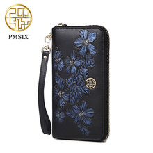 Pmsix 2017 New Womens wallet brand luxury Genuine leather card holder purse Chinese Style female zipper