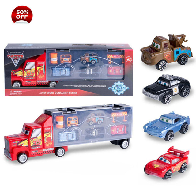 Cars Disney Diecast  Alloy Pixar Cars 3 Metal Truck Hauler with 4 Small Cars Disney Cars 3 Jackson Storm McQueen Toys For Kids