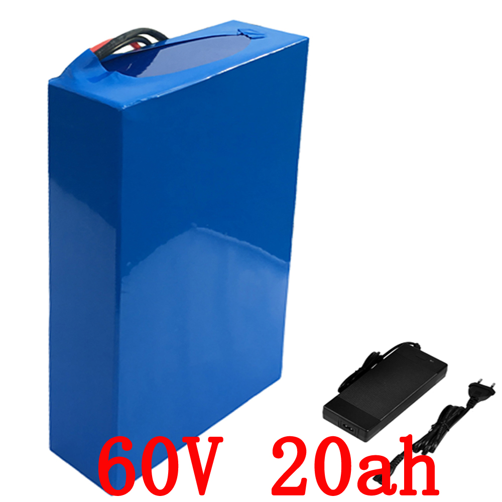 EU US no tax 60V 1500W Lithium battery 60V 20AH Electric bike battery 60V 20AH scooter battery use 3.7V 2500mah Cell 2A Charger