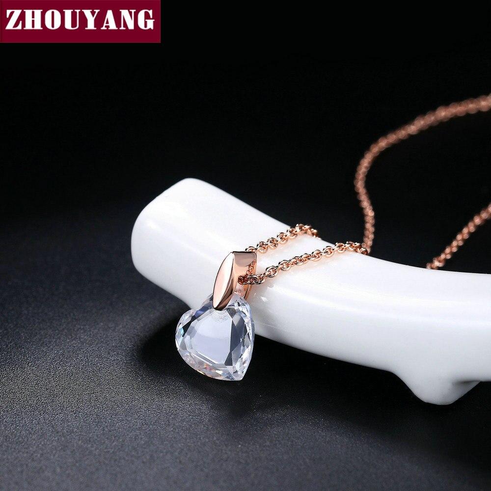 549d8c129d1d ZHOUYANG colgante de collar para las mujeres corazón claro-cristal oro  Color de rosa regalo de joyería de moda al por mayor ZYN126